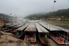 Cruise ship in Laos Pakbeng Stock Photo