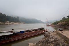 Cruise ship in Laos Pakbeng Stock Photos