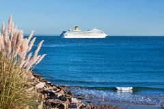 Cruise ship leaving Royalty Free Stock Photo