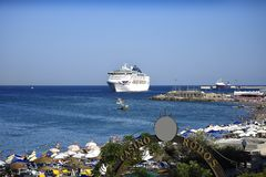 Cruise ship leaving the Deepwater Harbour on the island of Rhodes stock image