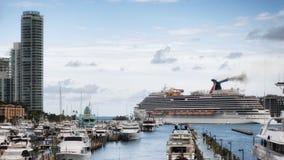 Cruise ship leaving Miami harbor Stock Photos