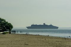 A Cruise Ship Leaving New York City royalty free stock photography