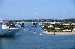 Cruise ship leaving Port Everglades Stock Photo