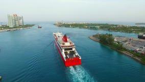 Cruise ship leaving Port Miami stock video