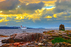 Cruise ship leaving port Stock Images