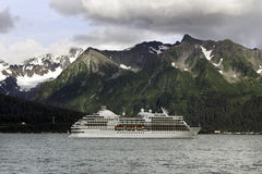 Cruise ship leaving Seward Stock Photo