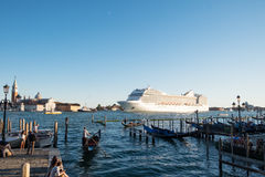 Cruise ship leaving Venice, Italy Royalty Free Stock Photos