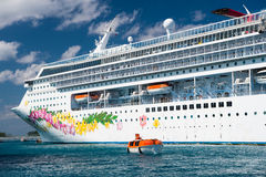 Cruise ship with life boat Stock Photos