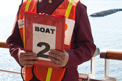 Cruise Ship Lifeboat Drill. Boat Number 2 lifeboat drill for a cruise ship stock photo