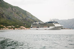 Cruise Ship and Lifeboats in Kotor Bay Royalty Free Stock Photo