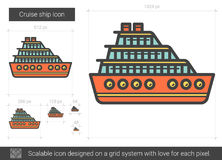 Cruise ship line icon. Cruise ship vector line icon isolated on white background. Cruise ship line icon for infographic, website or app. Scalable icon designed Stock Images