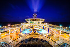 Cruise ship liner deck night Royalty Free Stock Photos