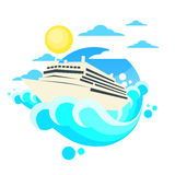 Cruise Ship Liner Summer Ocean Circle Logo Royalty Free Stock Image