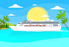 Cruise Ship Liner Tropical Island Summer Ocean. Vacation Flat Vector Illustration Stock Photography