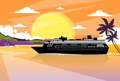 Cruise Ship Liner Tropical Island Sunset Orange. Sky Summer Ocean Vacation Flat Vector Illustration Royalty Free Stock Images