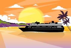 Cruise Ship Liner Tropical Island Sunset Orange royalty free illustration
