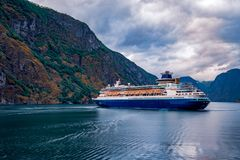 Cruise Liners On Hardanger fjorden Stock Image