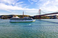 Cruise ship at Lisbon, Portugal Royalty Free Stock Images