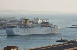 Cruise ship living from Trieste harbor, Italy Stock Photo