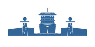 Cruise ship in a lock. Vector illustration Royalty Free Stock Image