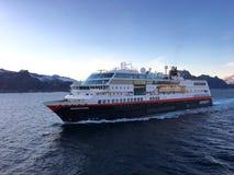 Cruise ship in Lofoten, Norway. Royalty Free Stock Photography