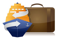 Cruise ship and luggage. Illustration design over a white background Royalty Free Stock Images
