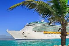 Cruise Ship. Luxury Cruise Ship Sailing to Port royalty free stock image