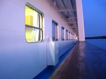 Cruise ship main deck in evening light stock photos
