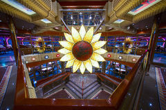 Cruise ship main dining room for over 1,000 seats is awaiting for new guests. Stock Image