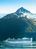 Cruise Ship making it's way into Skagway, Alaska Royalty Free Stock Images