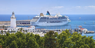 Cruise ship in Malaga port, Andalusia Stock Photography
