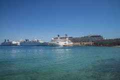 Cruise ship in mandraki harbour Royalty Free Stock Image