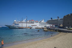 Cruise ship in mandraki harbour. Photo is shot when we were on vacation in Rhodes, Greece, September 2013 Royalty Free Stock Image