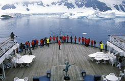 Cruise ship Marco Polo in LeMaire Harbor, Antarctica Royalty Free Stock Photos