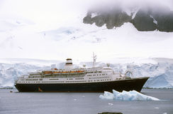 Cruise ship Marco Polo in Paradise Harbor, Antarctica Stock Image