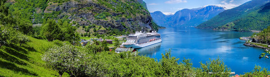 Cruise ship in the marina of famous Flam, Norway. Big ship in the marina of famous Flam, Norway Stock Photos