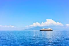 Cruise ship in Marina Grande port in Sorrento. Tyrrhenian sea, Amalfi coast, Italy Stock Image