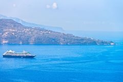 Cruise ship at Marina Grande port in Sorrento. Tyrrhenian sea, Amalfi coast, Italy Royalty Free Stock Photos