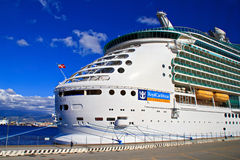 Cruise ship - Mariner of the seas. Docked at harbor Messina, Sicily. The vessel is operated by the Royal Caribbean cruise line stock image