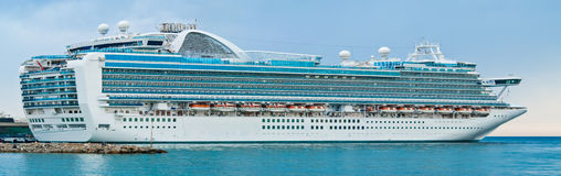 Cruise ship. Mediterranean cruise ship in port Royalty Free Stock Images