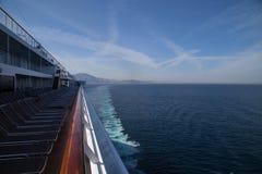Cruise Ship in the Mediterranean Sea. Outside the coast of Spain stock photos