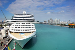 Cruise Ship at Miami Port with blue clear sky Royalty Free Stock Photography