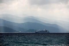 Cruise ship in mist Stock Photos