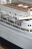 Cruise Ship model. Details of a white cruise ship model Stock Image