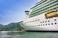 Cruise Ship in Montenegro. Cruise ship anchored in the Bay of Kotor, Montenegro royalty free stock photography