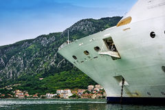 Cruise Ship in Montenegro. Cruise ship anchored in the Bay of Kotor, Montenegro royalty free stock photo