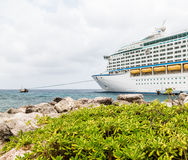 Cruise Ship Moored Beyond Green Shrubs Royalty Free Stock Images