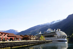Cruise Ship Moored_Norway_Europe_Family Holidays Royalty Free Stock Photography