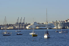 Cruise ship mooring in Queens wharf Auckland. AUCKLAND - MAY 28 2014:Cruise ship mooring in Queens wharf. The number of cruise passengers to New Zealand has Stock Photos