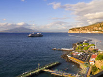 Cruise Ship and Mount Vesuvius. Cruise ship at anchor off the port of Sorrento Italy Stock Photography
